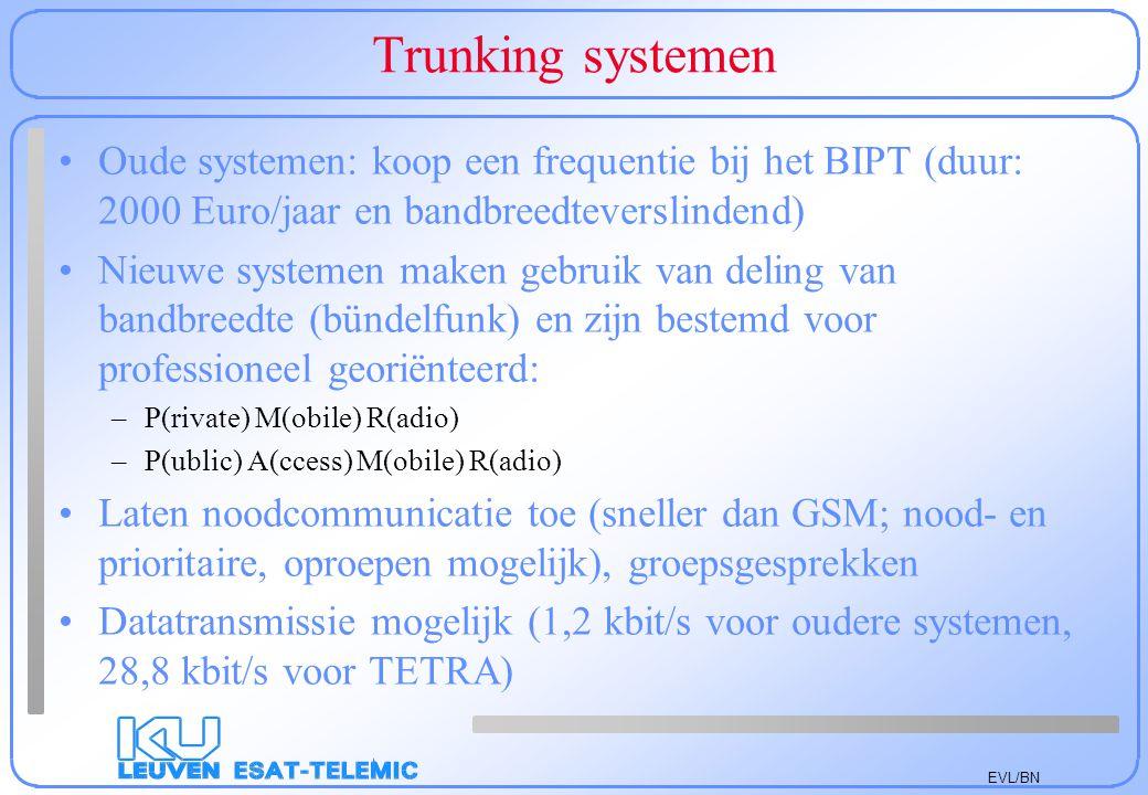 EVL/BN Trunking systemen Oude systemen: koop een frequentie bij het BIPT (duur: 2000 Euro/jaar en bandbreedteverslindend) Nieuwe systemen maken gebrui