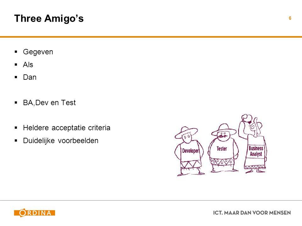 Three Amigo's  Gegeven  Als  Dan  BA,Dev en Test  Heldere acceptatie criteria  Duidelijke voorbeelden 6