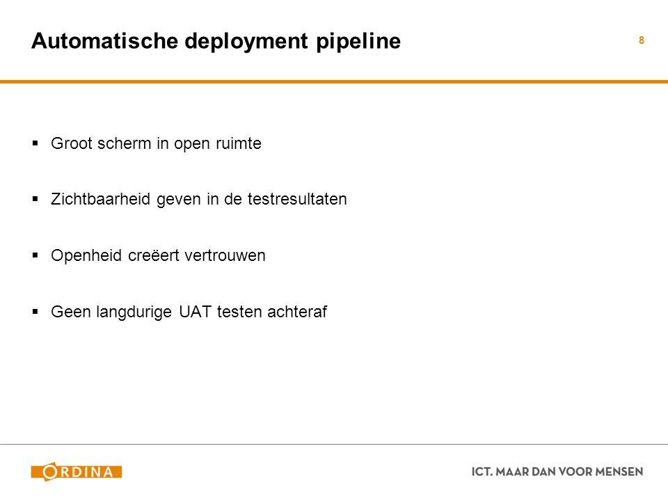 Automatische deployment pipeline  Groot scherm in open ruimte  Zichtbaarheid geven in de testresultaten  Openheid creëert vertrouwen  Geen langdur