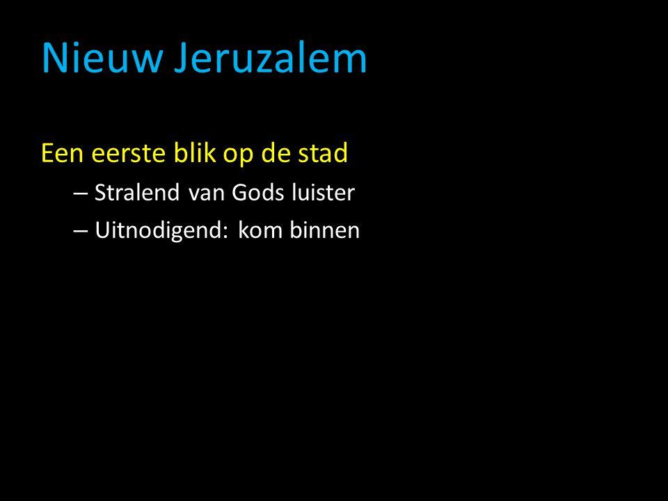 Nieuw Jeruzalem Een eerste blik op de stad – Stralend van Gods luister – Uitnodigend: kom binnen