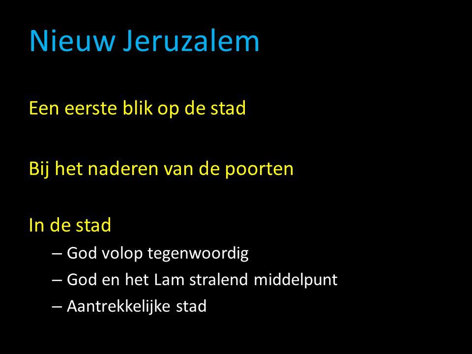 Nieuw Jeruzalem Een eerste blik op de stad Bij het naderen van de poorten In de stad – God volop tegenwoordig – God en het Lam stralend middelpunt – Aantrekkelijke stad