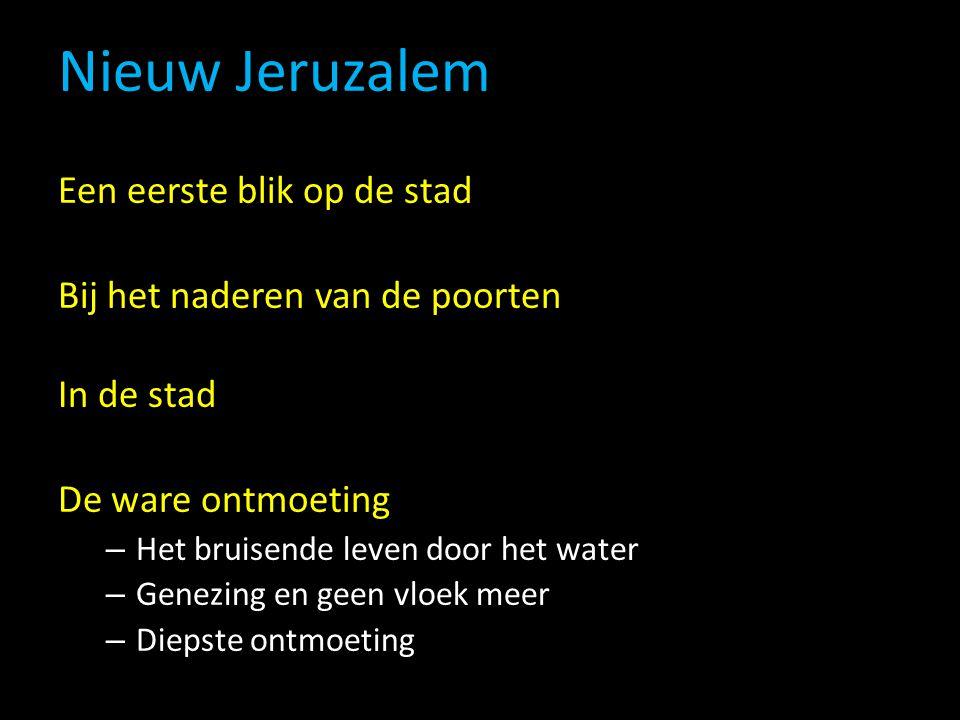 Nieuw Jeruzalem Een eerste blik op de stad Bij het naderen van de poorten In de stad De ware ontmoeting – Het bruisende leven door het water – Genezing en geen vloek meer – Diepste ontmoeting