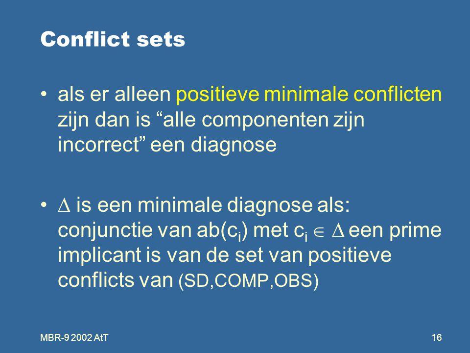 MBR-9 2002 AtT16 Conflict sets als er alleen positieve minimale conflicten zijn dan is alle componenten zijn incorrect een diagnose  is een minimale diagnose als: conjunctie van ab(c i ) met c i   een prime implicant is van de set van positieve conflicts van (SD,COMP,OBS)