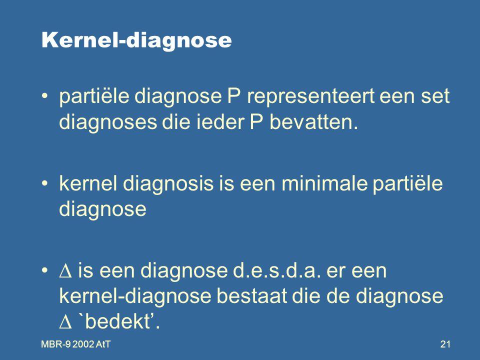 MBR-9 2002 AtT21 Kernel-diagnose partiële diagnose P representeert een set diagnoses die ieder P bevatten.