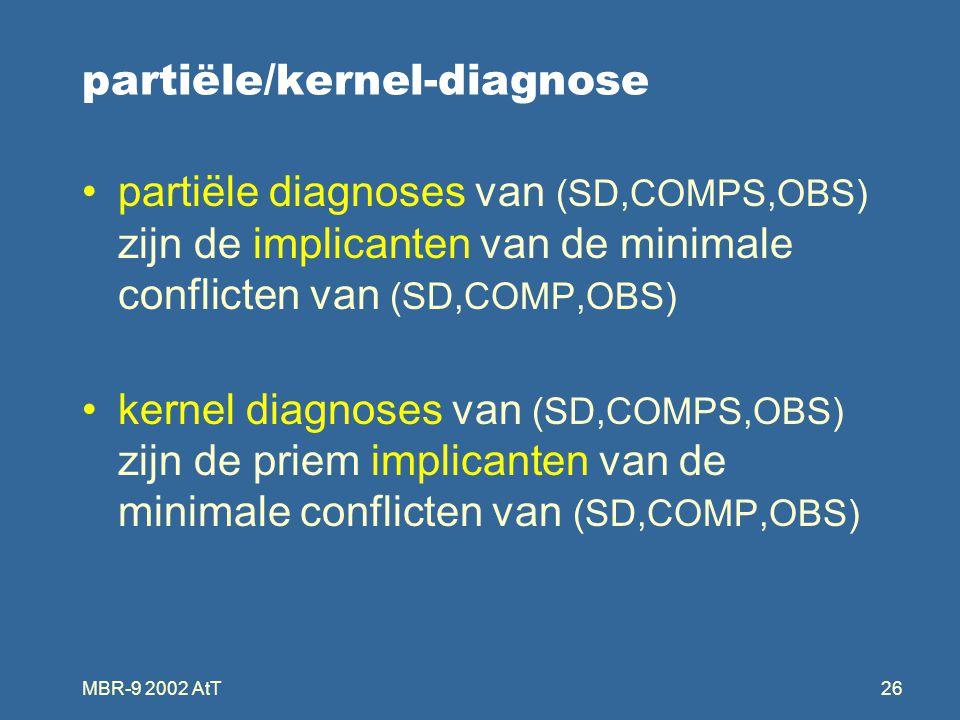 MBR-9 2002 AtT26 partiële/kernel-diagnose partiële diagnoses van (SD,COMPS,OBS) zijn de implicanten van de minimale conflicten van (SD,COMP,OBS) kernel diagnoses van (SD,COMPS,OBS) zijn de priem implicanten van de minimale conflicten van (SD,COMP,OBS)
