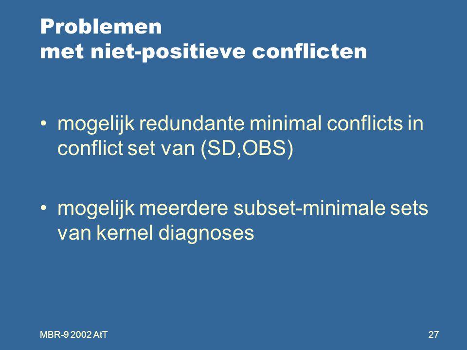 MBR-9 2002 AtT27 Problemen met niet-positieve conflicten mogelijk redundante minimal conflicts in conflict set van (SD,OBS) mogelijk meerdere subset-minimale sets van kernel diagnoses