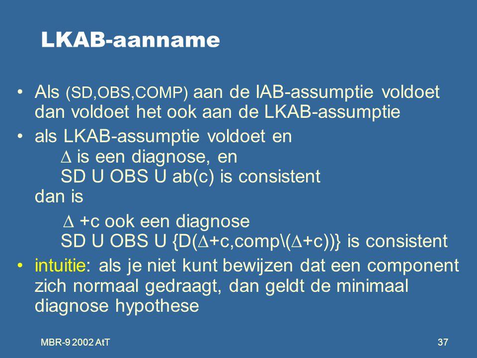 MBR-9 2002 AtT37 LKAB-aanname Als (SD,OBS,COMP) aan de IAB-assumptie voldoet dan voldoet het ook aan de LKAB-assumptie als LKAB-assumptie voldoet en  is een diagnose, en SD U OBS U ab(c) is consistent dan is  +c ook een diagnose SD U OBS U {D(  +c,comp\(  +c))} is consistent intuitie: als je niet kunt bewijzen dat een component zich normaal gedraagt, dan geldt de minimaal diagnose hypothese