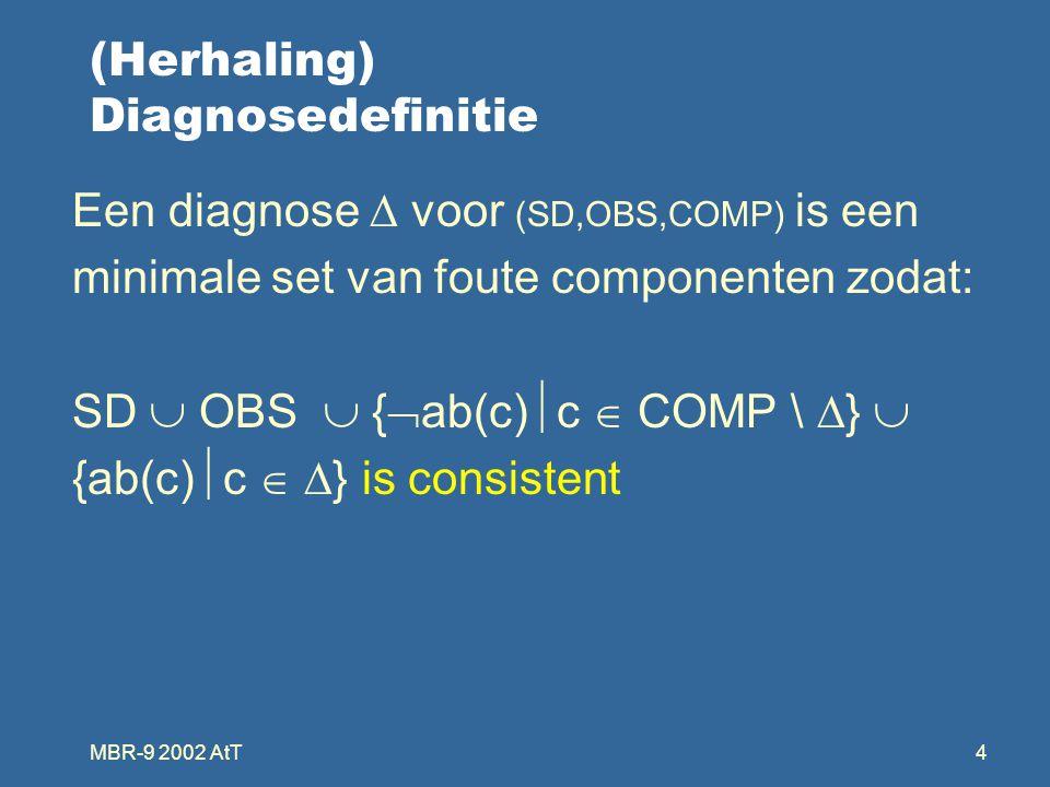 MBR-9 2002 AtT4 (Herhaling) Diagnosedefinitie Een diagnose  voor (SD,OBS,COMP) is een minimale set van foute componenten zodat: SD  OBS  {  ab(c)  c  COMP \  }  {ab(c)  c   } is consistent