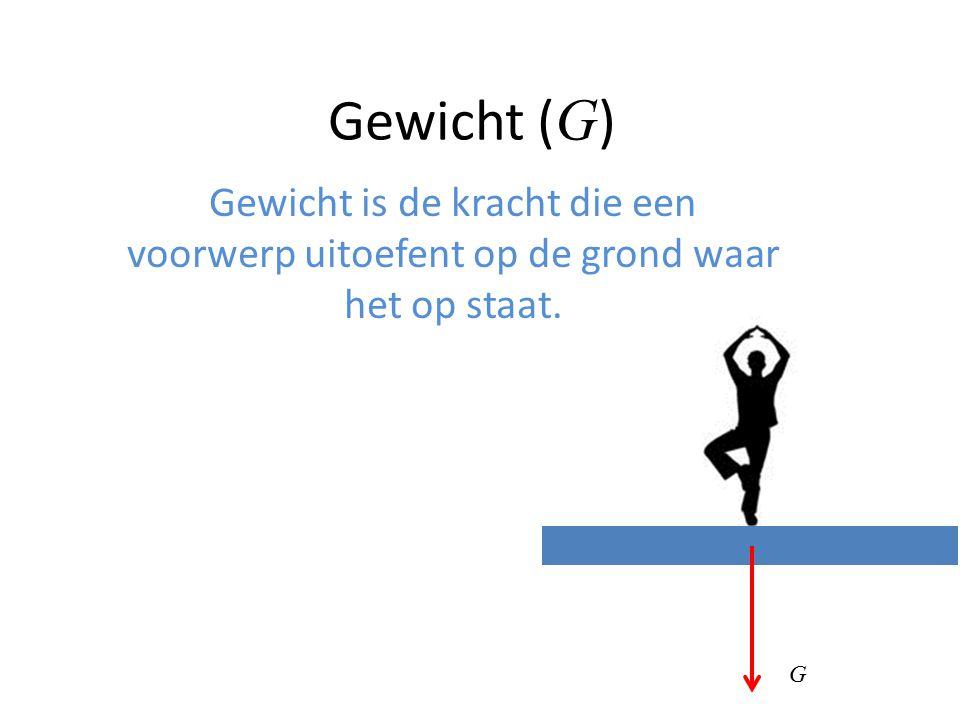 Gewicht ( G ) Gewicht is de kracht die een voorwerp uitoefent op de grond waar het op staat. G