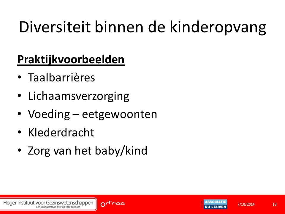 Diversiteit binnen de kinderopvang Praktijkvoorbeelden Taalbarrières Lichaamsverzorging Voeding – eetgewoonten Klederdracht Zorg van het baby/kind 137/10/2014
