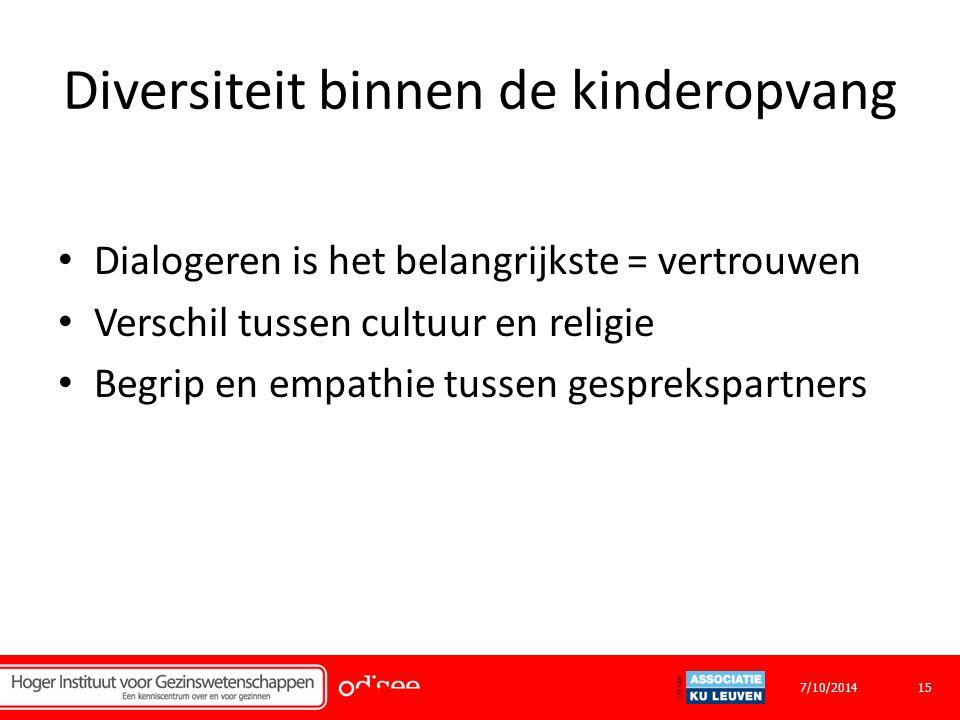Diversiteit binnen de kinderopvang Dialogeren is het belangrijkste = vertrouwen Verschil tussen cultuur en religie Begrip en empathie tussen gesprekspartners 157/10/2014