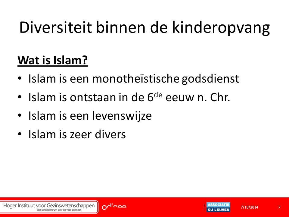 Diversiteit binnen de kinderopvang Wat is Islam.