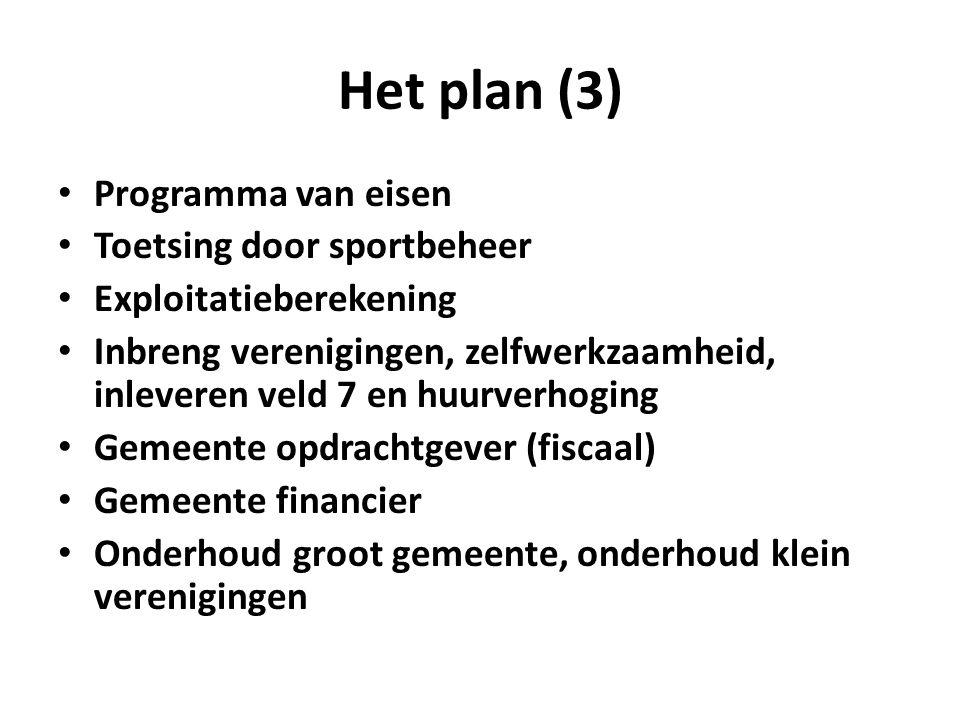 Het plan (3) Programma van eisen Toetsing door sportbeheer Exploitatieberekening Inbreng verenigingen, zelfwerkzaamheid, inleveren veld 7 en huurverho