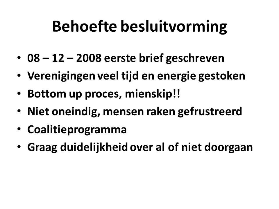 Behoefte besluitvorming 08 – 12 – 2008 eerste brief geschreven Verenigingen veel tijd en energie gestoken Bottom up proces, mienskip!! Niet oneindig,