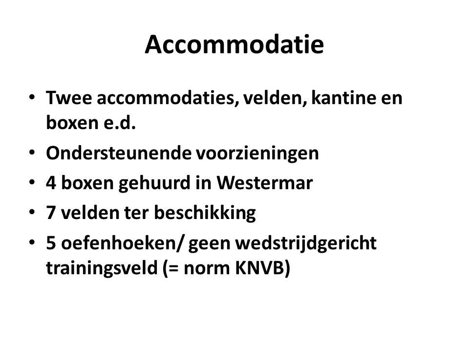 Accommodatie Twee accommodaties, velden, kantine en boxen e.d. Ondersteunende voorzieningen 4 boxen gehuurd in Westermar 7 velden ter beschikking 5 oe