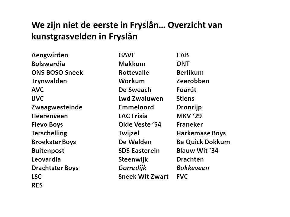 We zijn niet de eerste in Fryslân… Overzicht van kunstgrasvelden in Fryslân AengwirdenGAVCCAB BolswardiaMakkumONT ONS BOSO SneekRottevalleBerlikum TrynwaldenWorkumZeerobben AVCDe SweachFoarút IJVCLwd ZwaluwenStiens ZwaagwesteindeEmmeloordDronrijp HeerenveenLAC FrisiaMKV '29 Flevo BoysOlde Veste '54Franeker TerschellingTwijzelHarkemase Boys Broekster BoysDe WaldenBe Quick Dokkum BuitenpostSDS EastereinBlauw Wit '34 LeovardiaSteenwijkDrachten Drachtster BoysGorredijkBakkeveen LSCSneek Wit ZwartFVC RES