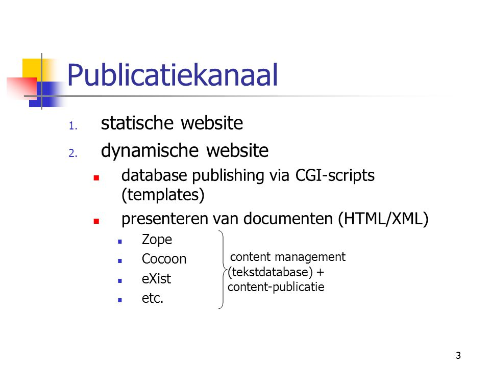 3 Publicatiekanaal 1. statische website 2.