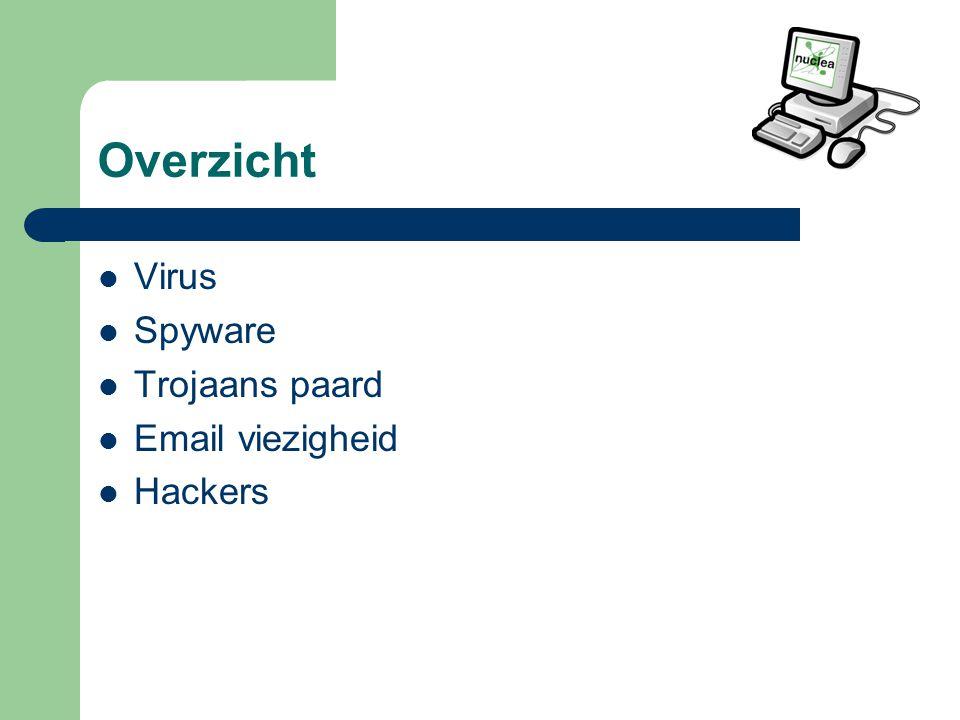 Overzicht Virus Spyware Trojaans paard Email viezigheid Hackers