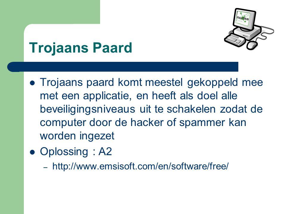 Trojaans Paard Trojaans paard komt meestel gekoppeld mee met een applicatie, en heeft als doel alle beveiligingsniveaus uit te schakelen zodat de computer door de hacker of spammer kan worden ingezet Oplossing : A2 – http://www.emsisoft.com/en/software/free/