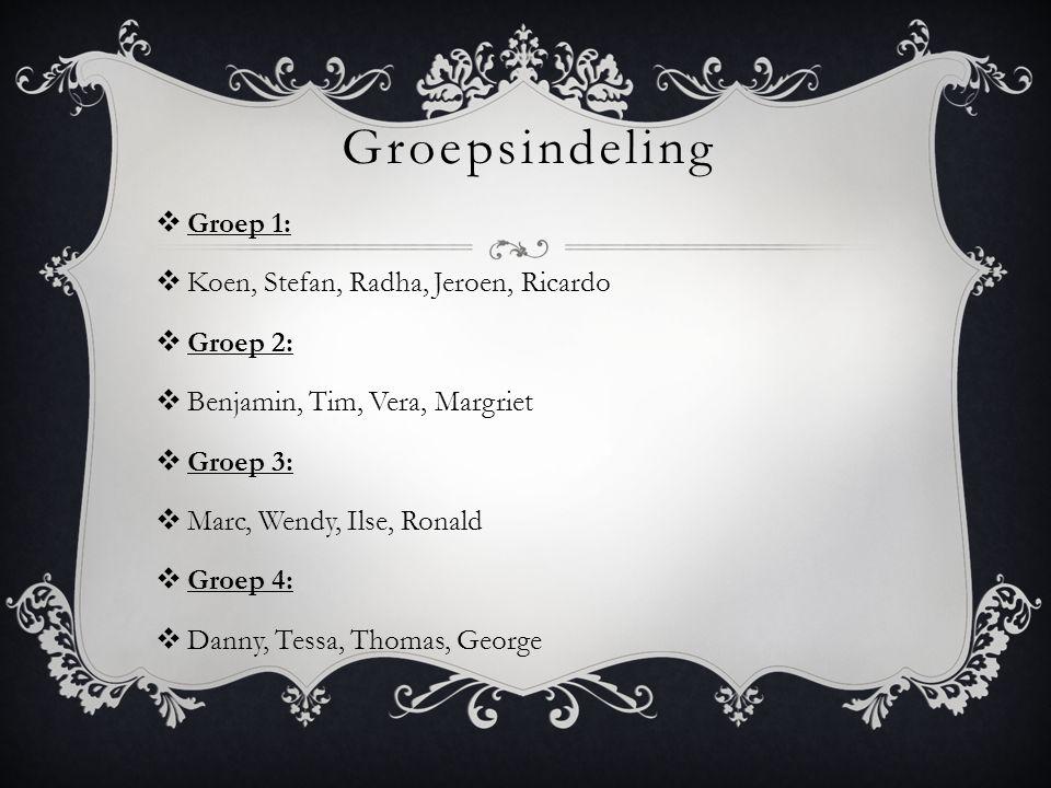 Groepsindeling  Groep 1:  Koen, Stefan, Radha, Jeroen, Ricardo  Groep 2:  Benjamin, Tim, Vera, Margriet  Groep 3:  Marc, Wendy, Ilse, Ronald  G