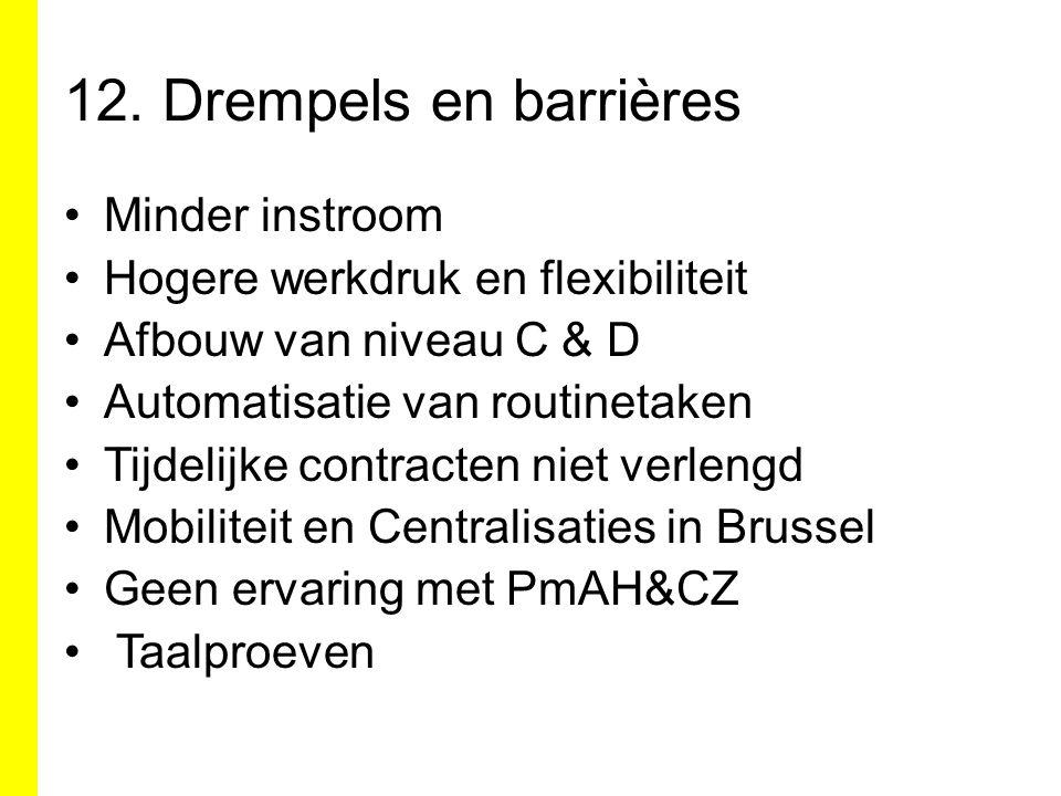 12. Drempels en barrières Minder instroom Hogere werkdruk en flexibiliteit Afbouw van niveau C & D Automatisatie van routinetaken Tijdelijke contracte