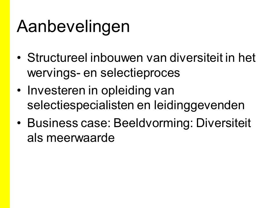 Aanbevelingen Structureel inbouwen van diversiteit in het wervings- en selectieproces Investeren in opleiding van selectiespecialisten en leidinggevenden Business case: Beeldvorming: Diversiteit als meerwaarde