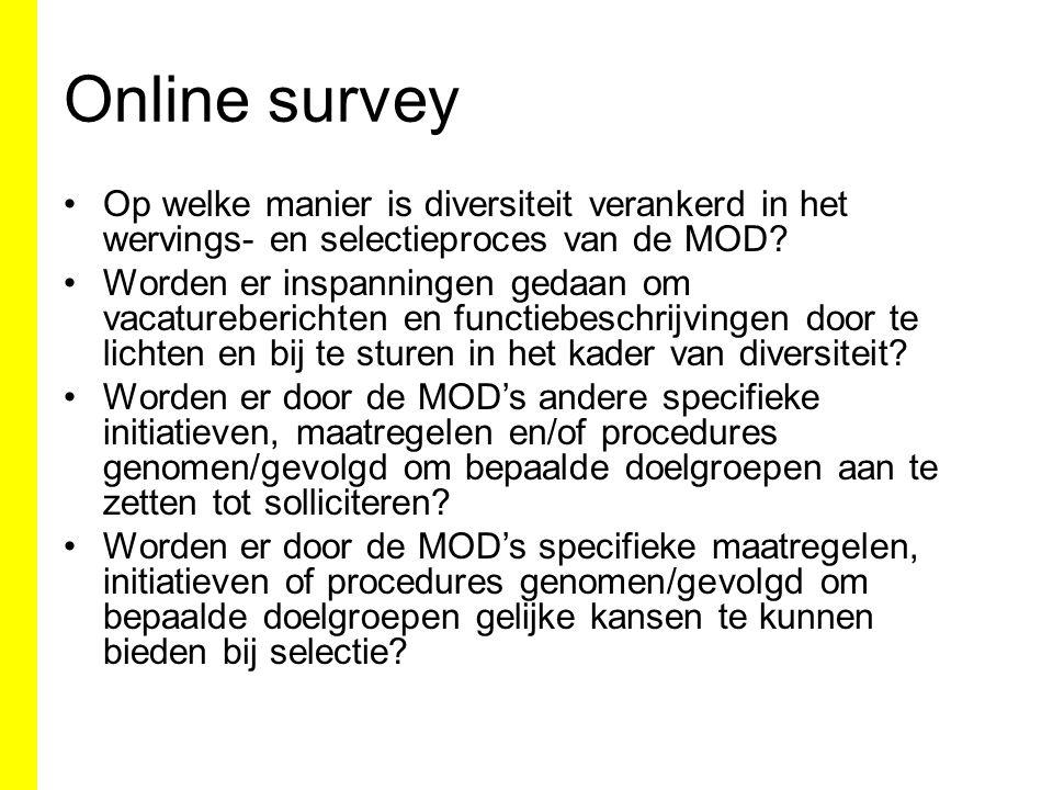 Online survey Op welke manier is diversiteit verankerd in het wervings- en selectieproces van de MOD.