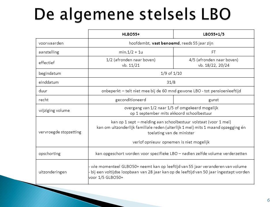 6 HLBO55+LBO55+1/5 voorwaardenhoofdambt, vast benoemd, reeds 55 jaar zijn aanstellingmin.1/2 + 1uFT effectief 1/2 (afronden naar boven) vb. 11/21 4/5