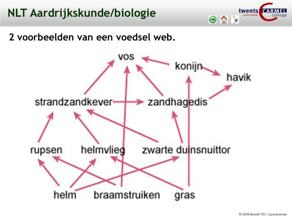 © 2009 Biosoft TCC - Lyceumstraat NLT Aardrijkskunde/biologie 2 voorbeelden van een voedsel web.