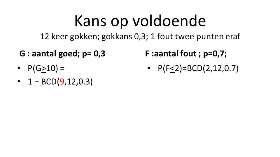 Kans op voldoende 12 keer gokken; gokkans 0,3; 1 fout twee punten eraf G : aantal goed; p= 0,3 P(G>10) = 1 − BCD(9,12,0.3) F :aantal fout ; p=0,7; P(F<2)=BCD(2,12,0.7)