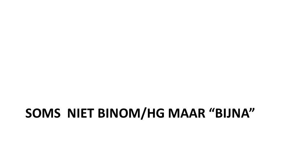 """SOMS NIET BINOM/HG MAAR """"BIJNA"""""""