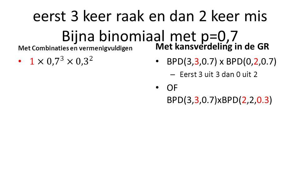 eerst 3 keer raak en dan 2 keer mis Bijna binomiaal met p=0,7 Met Combinaties en vermenigvuldigen Met kansverdeling in de GR BPD(3,3,0.7) x BPD(0,2,0.7) – Eerst 3 uit 3 dan 0 uit 2 OF BPD(3,3,0.7)xBPD(2,2,0.3)