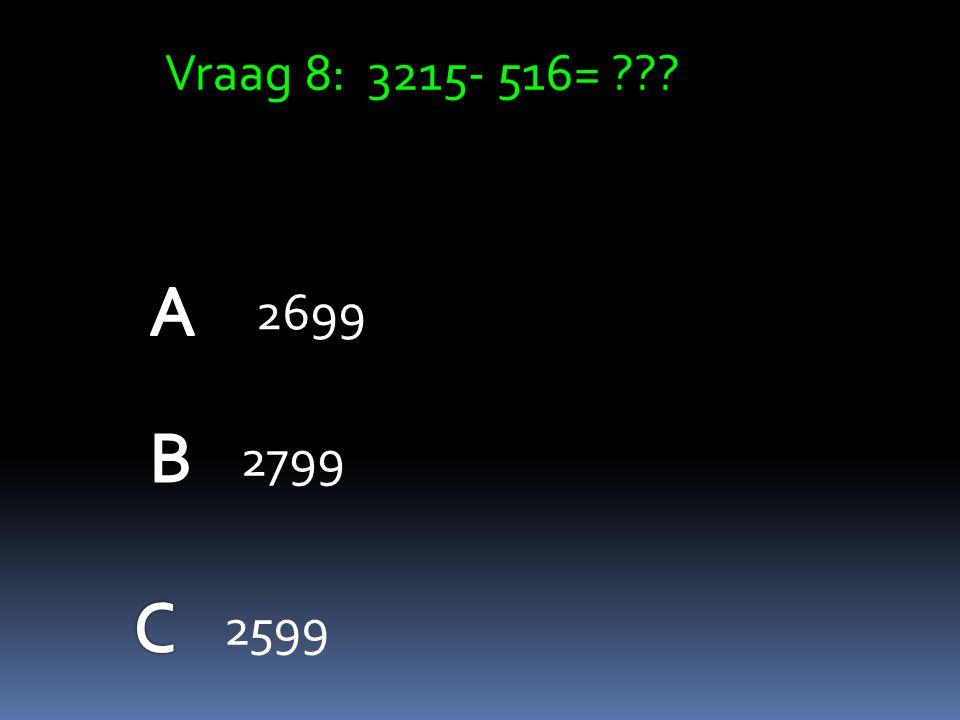 Vraag 7 : 1284+416= 1700 1600 1650