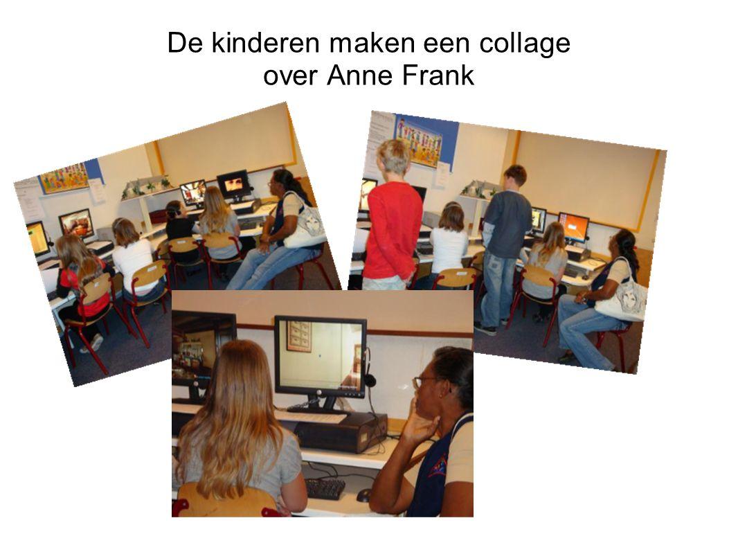 De kinderen maken een collage over Anne Frank