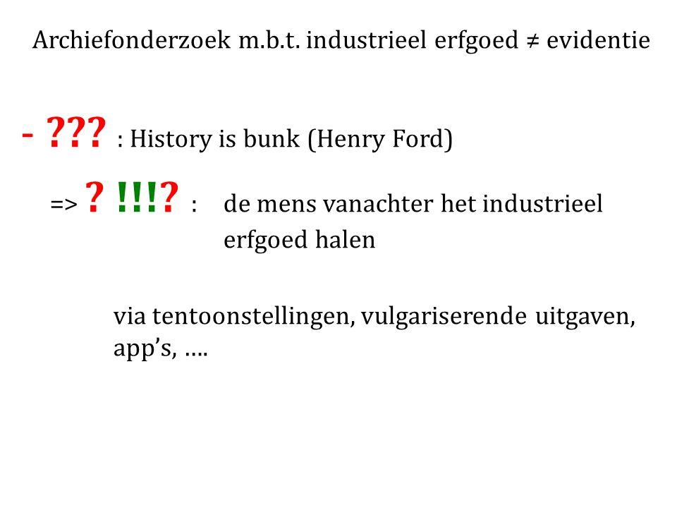 Archiefonderzoek m.b.t. industrieel erfgoed ≠ evidentie - .