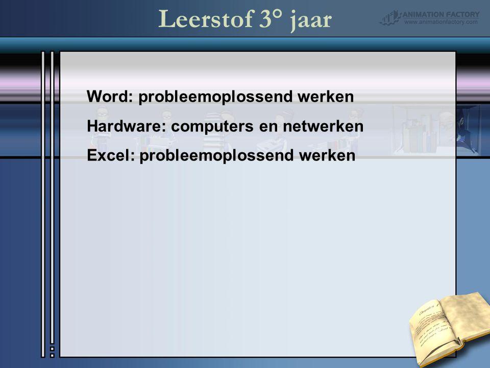 Leerstof 3° jaar Word: probleemoplossend werken Hardware: computers en netwerken Excel: probleemoplossend werken