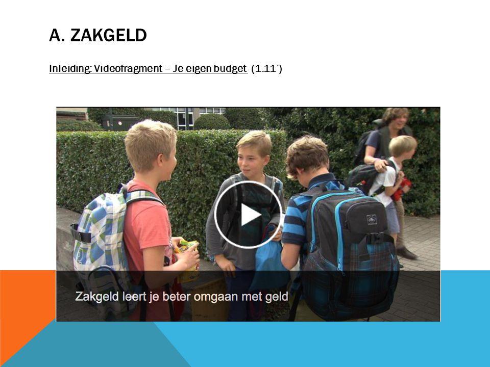 A. ZAKGELD Inleiding: Videofragment – Je eigen budget (1.11')