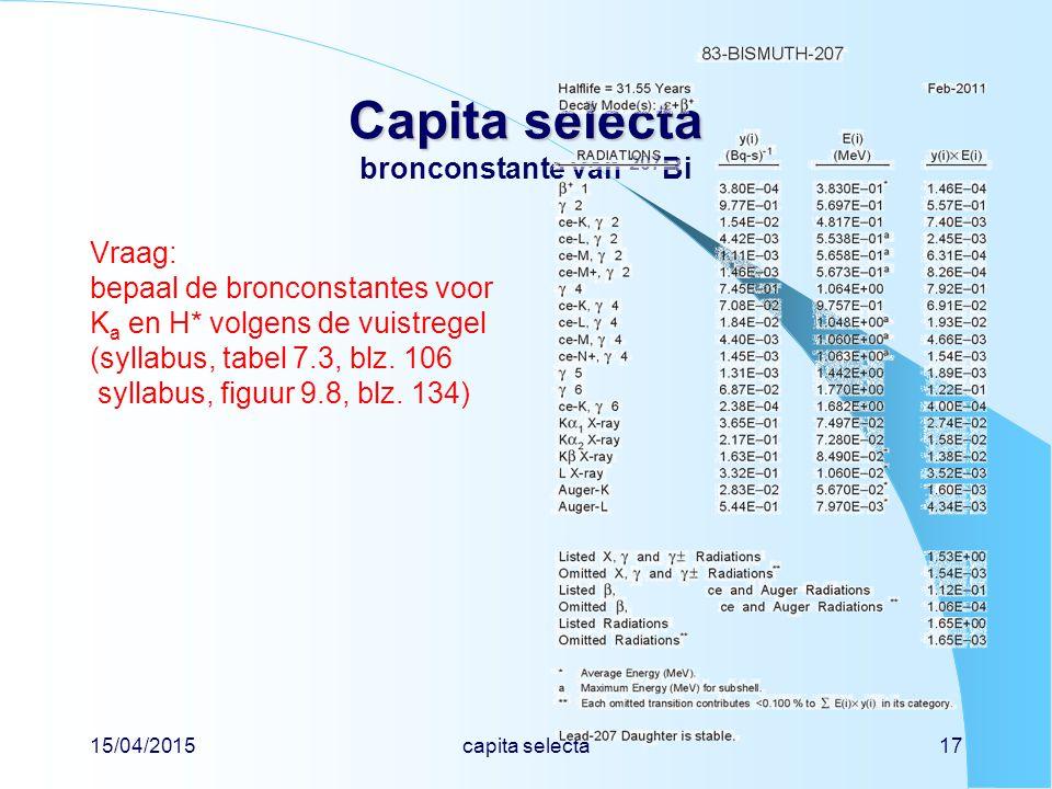15/04/2015capita selecta17 Capita selecta Capita selecta bronconstante van 207 Bi Vraag: bepaal de bronconstantes voor K a en H* volgens de vuistregel (syllabus, tabel 7.3, blz.
