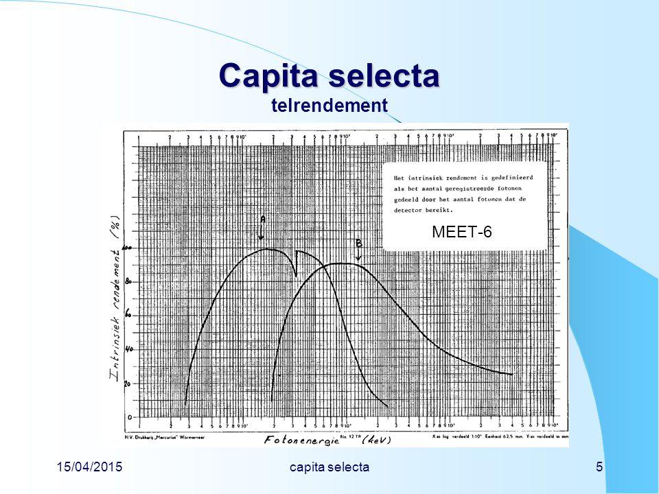 15/04/2015capita selecta6 Capita selecta Capita selecta telrendement voorbeeld van een NaI-detector diameter2,0 cm dikte 2,0 cm afstand tot bron3,0 cm soortelijke massa 3,67 g cm -3 massieke verzwakkingscoëfficiënt µ/  300 keV0,166 cm 2 g -1 1000 keV0,059 cm 2 g -1 3000 keV0,037 cm 2 g -1 Vraag:bereken f geo bereken f det voor 300, 1000 en 3000 keV