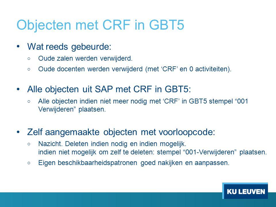 Objecten met CRF in GBT5 Wat reeds gebeurde: o Oude zalen werden verwijderd.