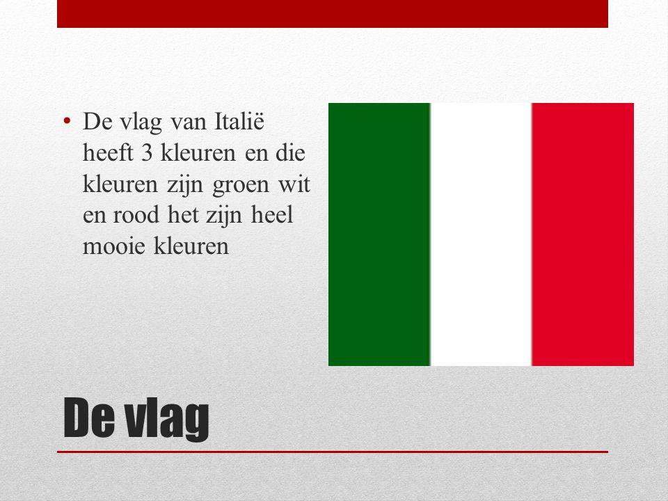 De vlag De vlag van Italië heeft 3 kleuren en die kleuren zijn groen wit en rood het zijn heel mooie kleuren