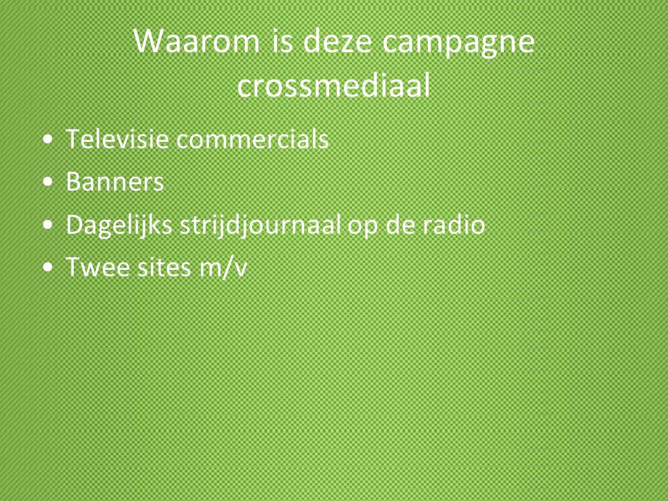 Waarom is deze campagne crossmediaal Televisie commercials Banners Dagelijks strijdjournaal op de radio Twee sites m/v