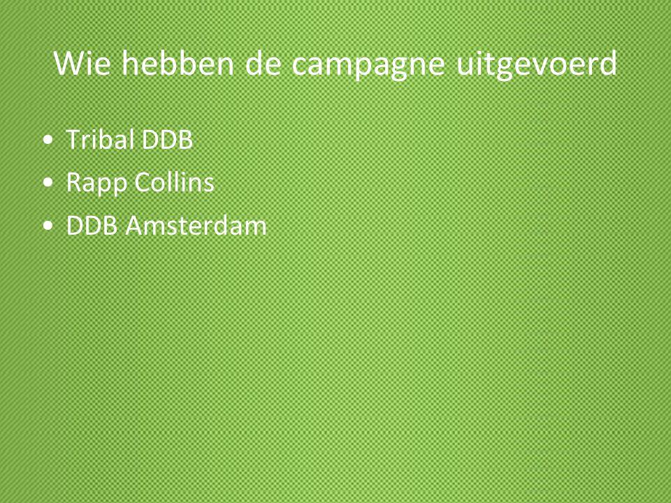 Wie hebben de campagne uitgevoerd Tribal DDB Rapp Collins DDB Amsterdam
