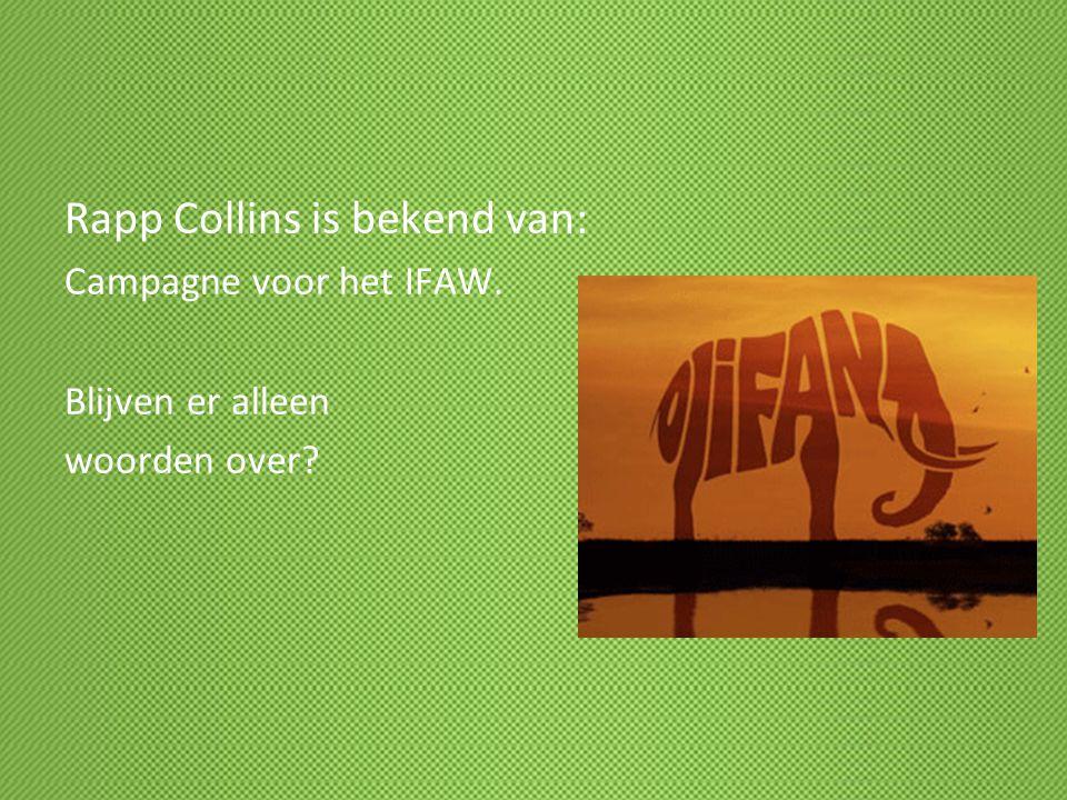 Rapp Collins is bekend van: Campagne voor het IFAW. Blijven er alleen woorden over?