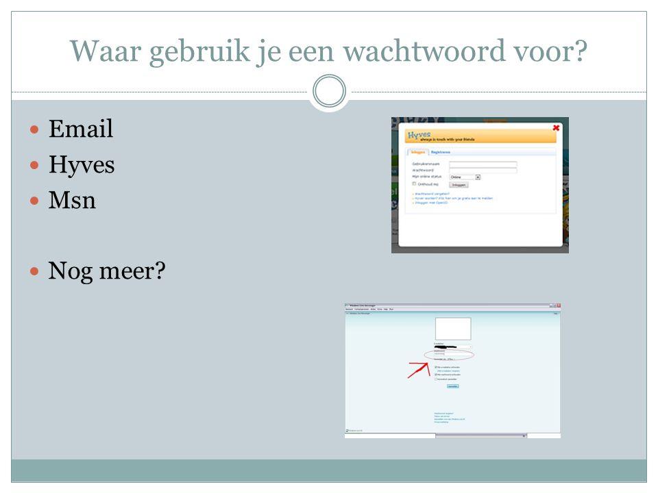 Waar gebruik je een wachtwoord voor? Email Hyves Msn Nog meer?