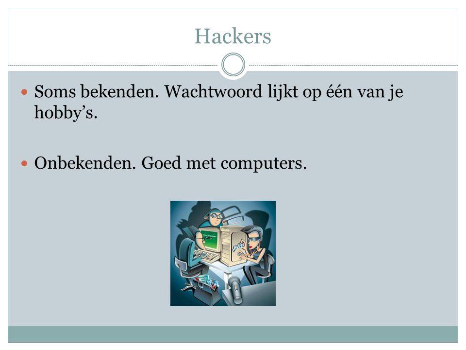 Hackers Soms bekenden. Wachtwoord lijkt op één van je hobby's. Onbekenden. Goed met computers.