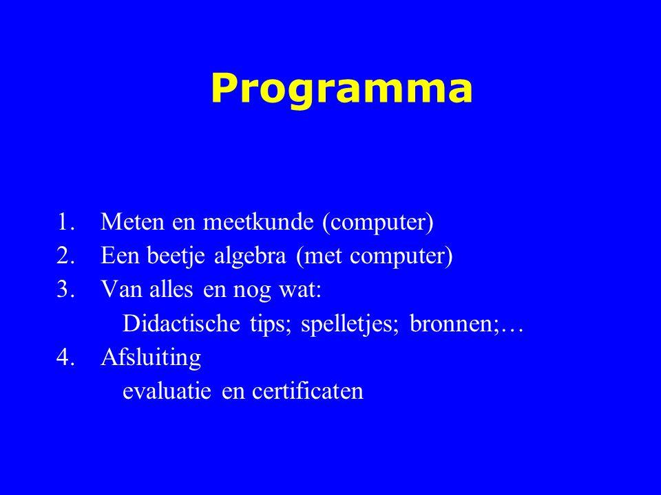Programma 1.Meten en meetkunde (computer) 2.Een beetje algebra (met computer) 3.Van alles en nog wat: Didactische tips; spelletjes; bronnen;… 4.Afslui