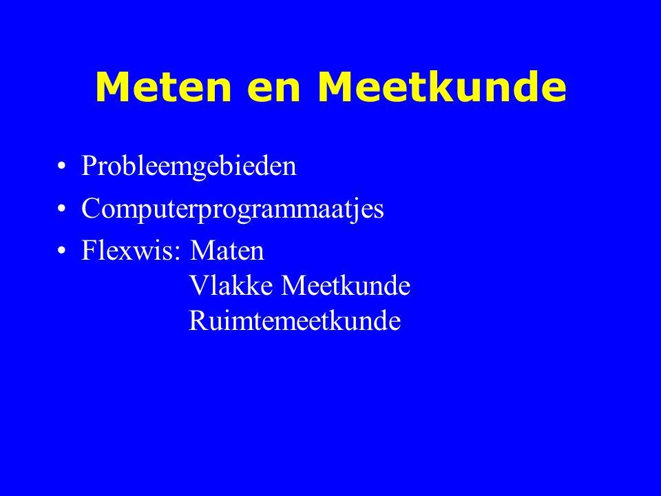 Gebieden Meten en maten Ruimtelijk inzicht Rekenen in de meetkunde: oppervlakte, inhoud,..