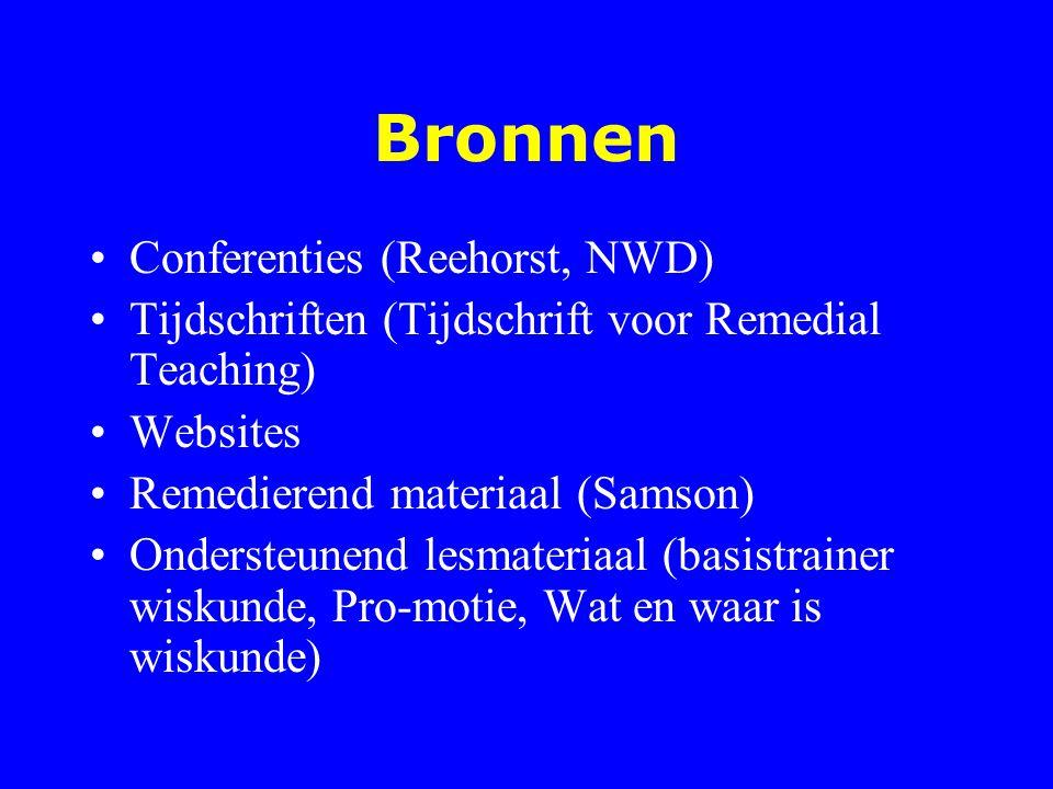 Bronnen Conferenties (Reehorst, NWD) Tijdschriften (Tijdschrift voor Remedial Teaching) Websites Remedierend materiaal (Samson) Ondersteunend lesmater