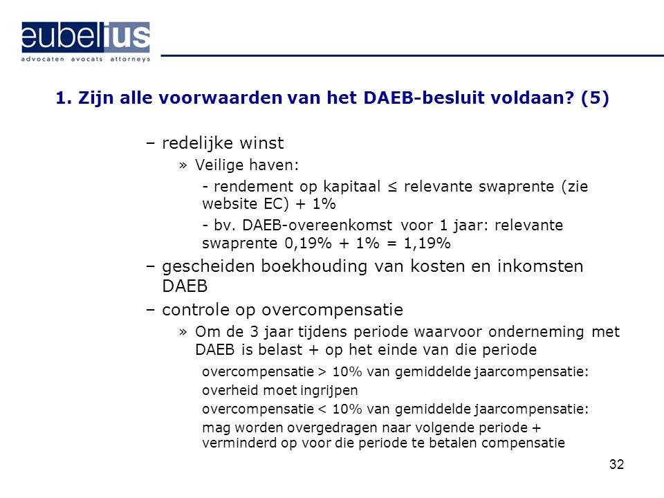 32 1. Zijn alle voorwaarden van het DAEB-besluit voldaan? (5) –redelijke winst »Veilige haven: - rendement op kapitaal ≤ relevante swaprente (zie webs